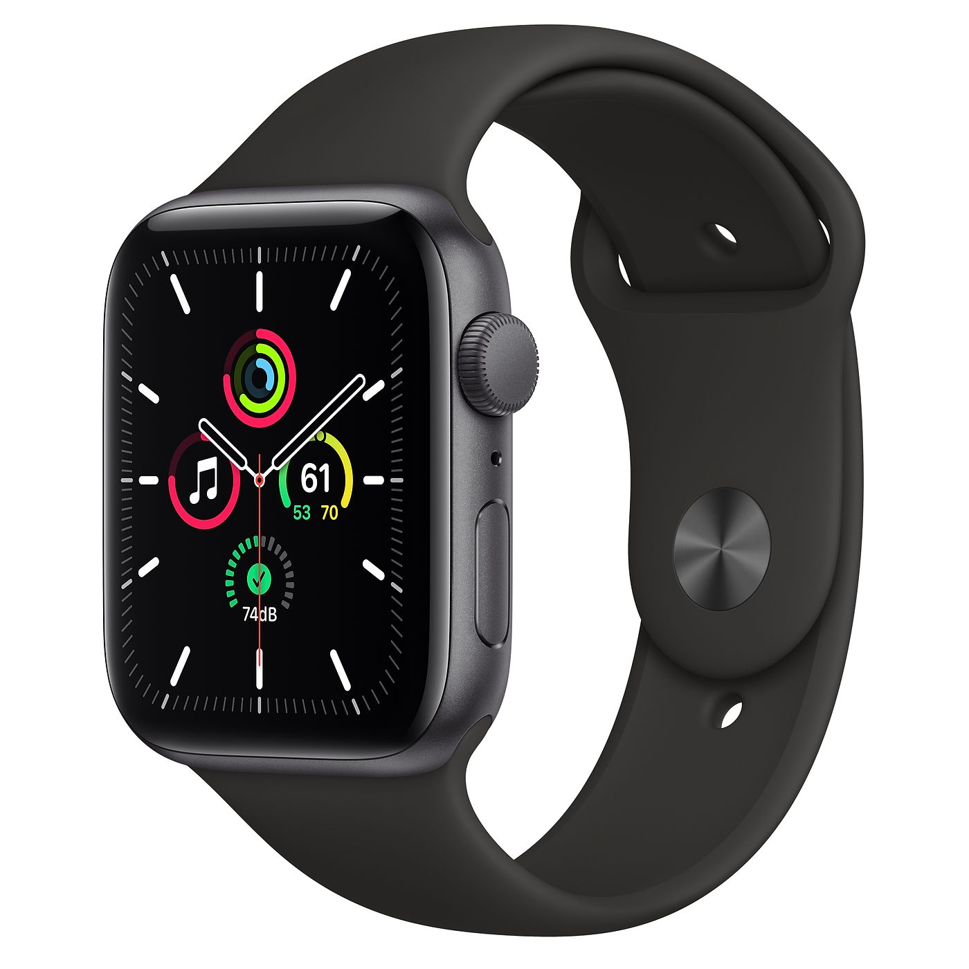 Apple 2020년 애플워치 SE GPS 44mm 레귤러  스페이스 그레이 알루미늄(케이스)  블랙(스포츠 밴드)