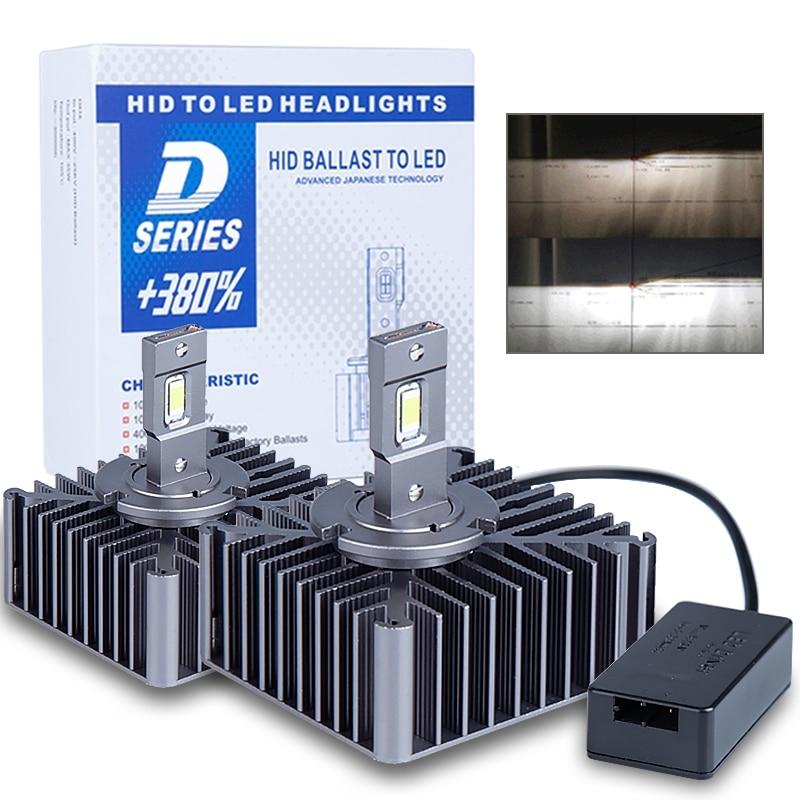 [해외] 2PCS D5S D2S 플러그 앤 플레이 LED 전구 D1S D2R D4S D4R D3S D8S 내장 Canbus Led 헤드 라이트 6000K 15000LM 자동 터보 Led 램