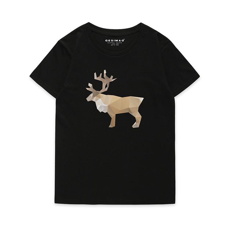 [해외] 사슴은 디자이너 프린트 LowPoly인 티 셔츠  {단일옵션:L 옵션2}