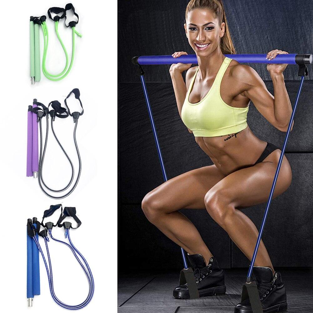 [해외] 휘트니스 운동 필라테스 스틱 바 저항 밴드 체육관 요가 스쿼트 훈련 효과적인 작업 아웃 액세서리|레지스턴스 밴드|