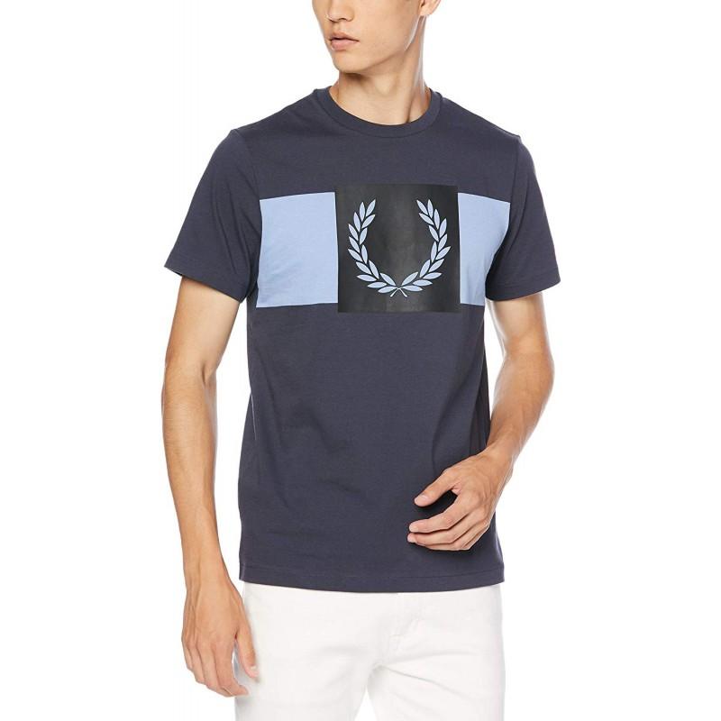 [프레드 페리]T-셔츠 Printed Laurel Wreath T-Shirt 남성 102 BLACK UK M(일본 사이즈 L) M6515