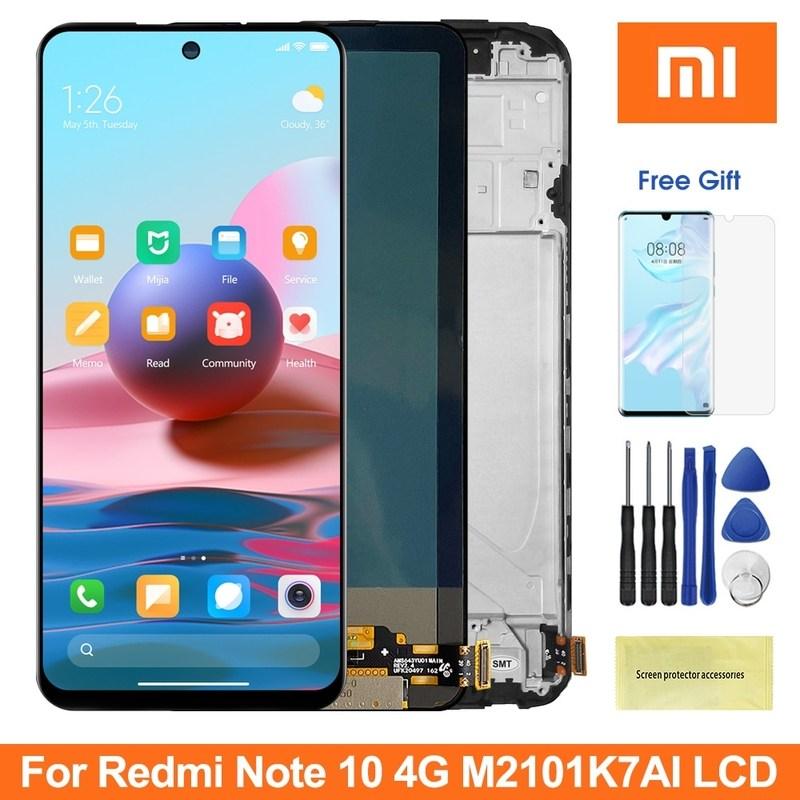 [해외] Super AMOLED 6.43 화면 Xiaomi Redmi 참고 10 M2101K7AI M2101K7AG Lcd 디스플레이 Redmi Note10 4G