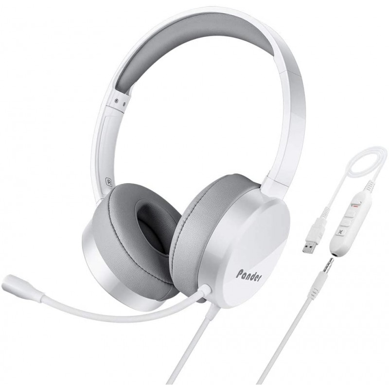 [해외] 마이크가있는 USB 헤드셋  팬더 소음 제거 3.5mm 컴퓨터 PC 헤드셋  Skype  웨비나  전화  콜센터 용 볼륨 조절 기능이있는 경