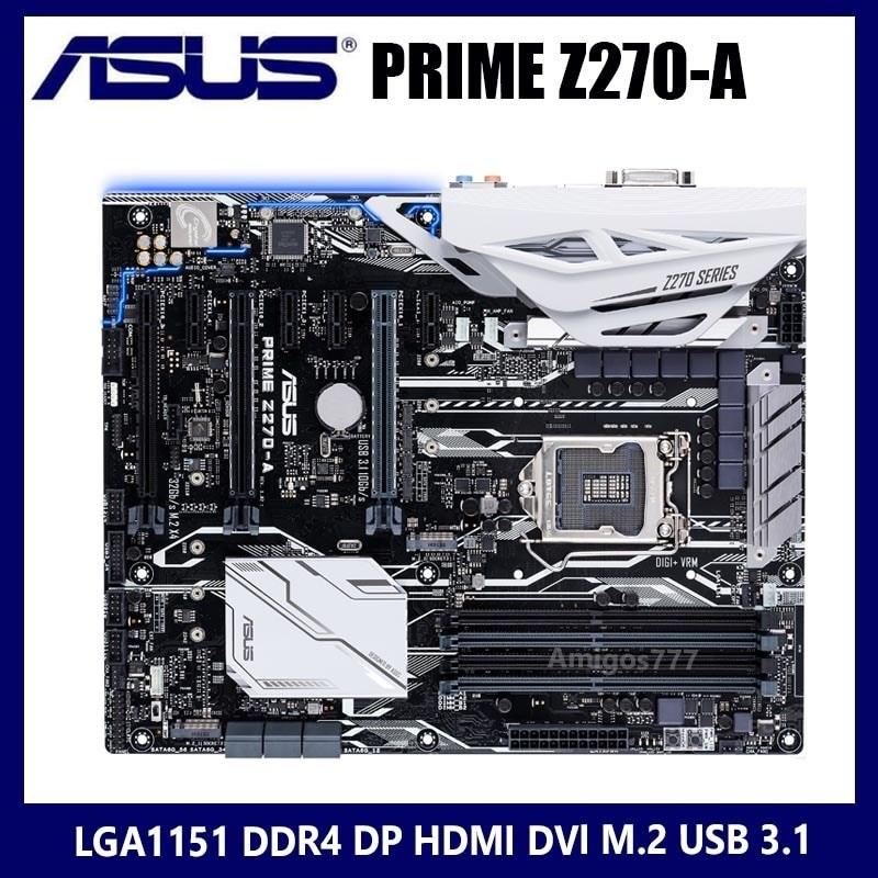 [해외] 메인보드 마더보드 LGA 1151 Asus PRIME Z270-A 마더보드 DDR4 PCI-E 3.0 DDR4 3733OC M.2 HDMI 호환 데스크탑 Z270 ATX 중고  {