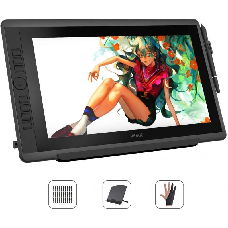 [해외] VEIKK 액 탭 VK1560pro HD 디지털 일러스트 기울기 감지 된 7 개의 바로 가기 키와 하나 휠을 탑재 8192