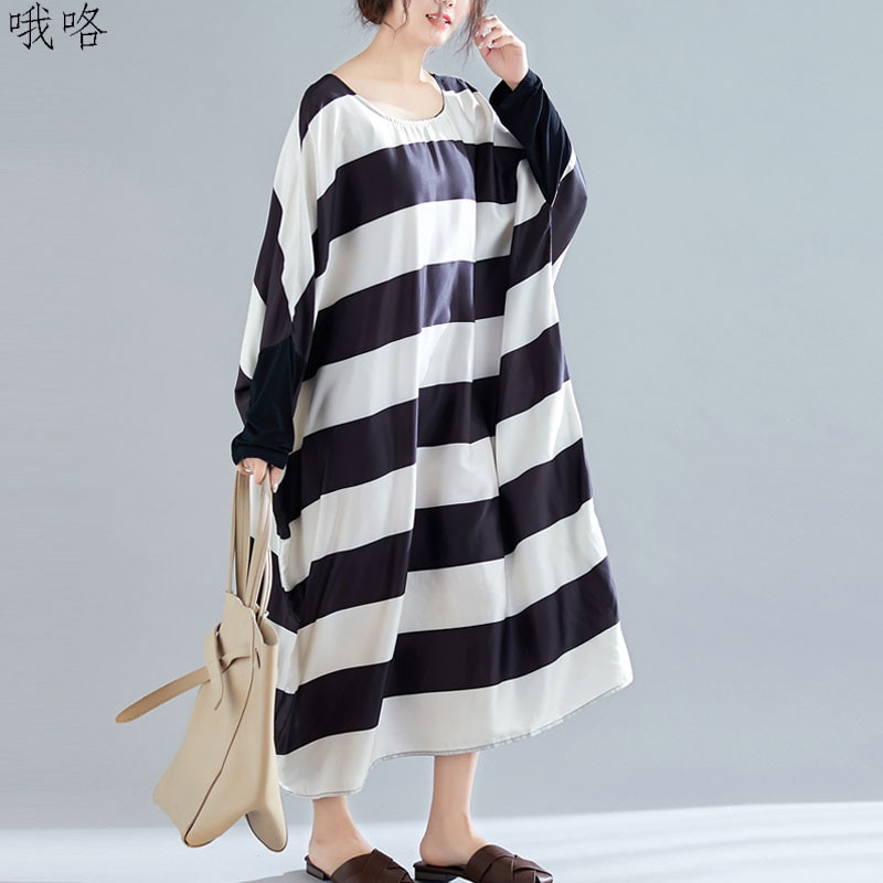 [해외] 플러스 사이즈 여성 드레스 2020 가을 Batwing 슬리브 스트라이프 스플 라이스 블랙 레이디 긴 소매 드레스 빅 사이즈 레이디 드레스 5XL 6XL 7XL|드레스|  L  B