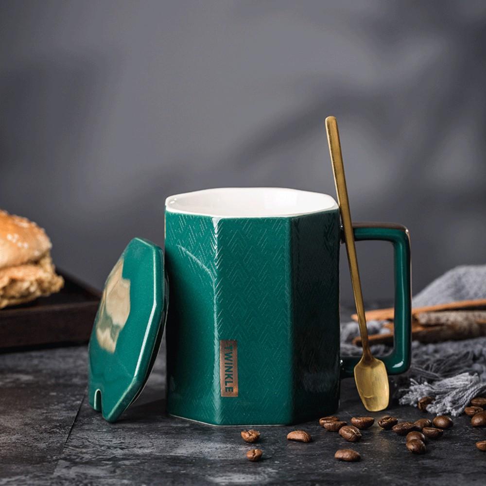 [해외] 슬의생2 커피잔 최송화 이익준 각진머그컵 엔틱 선물용 카페 커피잔 집들이선물 스푼 세트