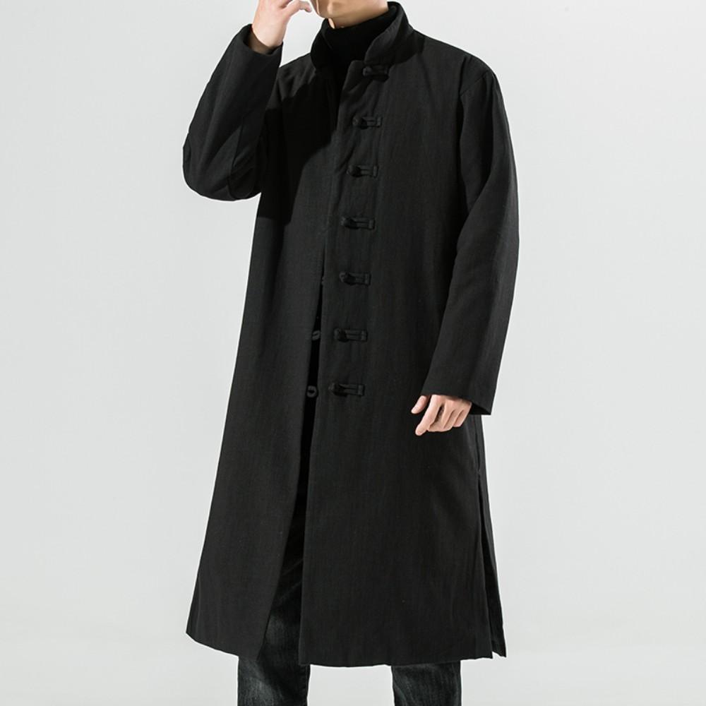 [해외] 빈티지 두루마기 코트 남성 빅사이즈 갈옷 세트 절복 승복 유행하는 생활한복 법복 퓨전 드라마 누빔 요즘 겨울 개량한복 스님옷