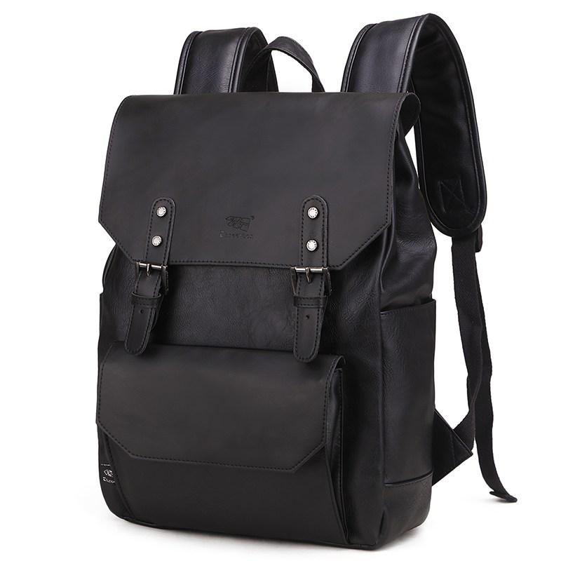 [해외] 쿠팡대박머니 노트북가방 홍콩 트렌드 무드 참되다 가죽백팩 백팩책가방  블랙