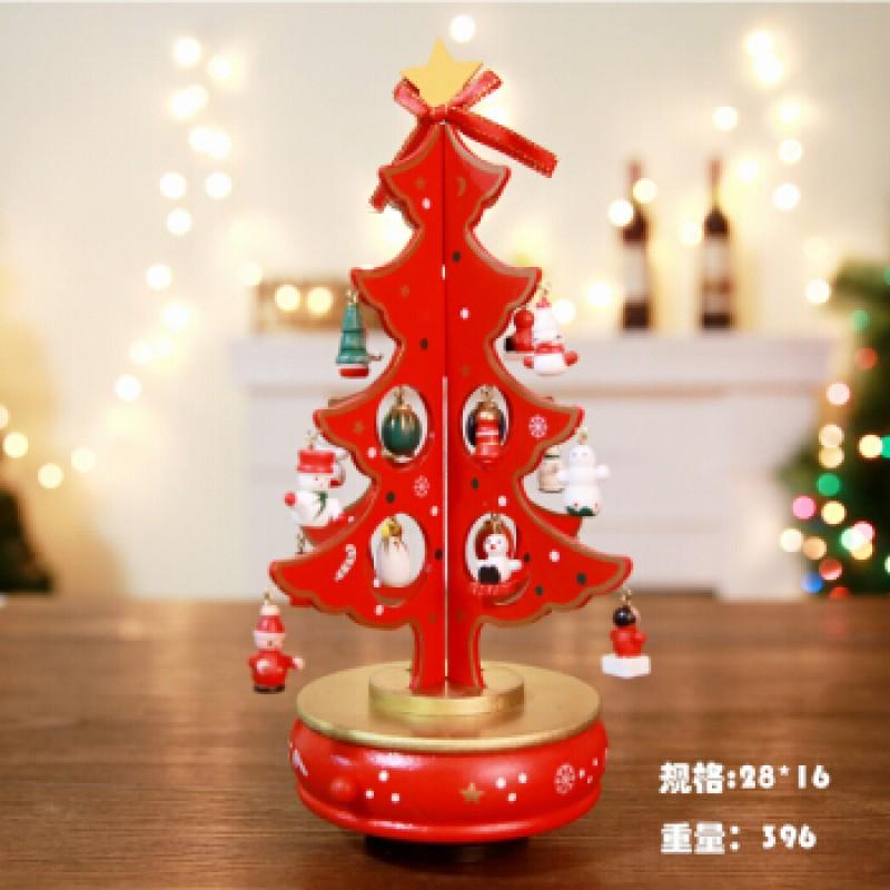 [해외] 나무 회전 음악 상자 크리스마스 트리 크리스마스 장식 옥톤 상자 장면 장식 상점 바탕 장식 선물 미디에