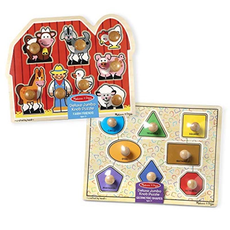 [해외] Melissa & Doug 3522 Jumbo Knob Wooden Puzzles-Shapes and Farm Animals