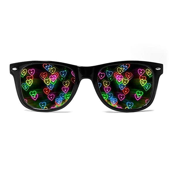 [해외] GloFX Heart Effect Diffraction Glasses - See Hearts! - Special Effect Rave EDM Festival Light Changi