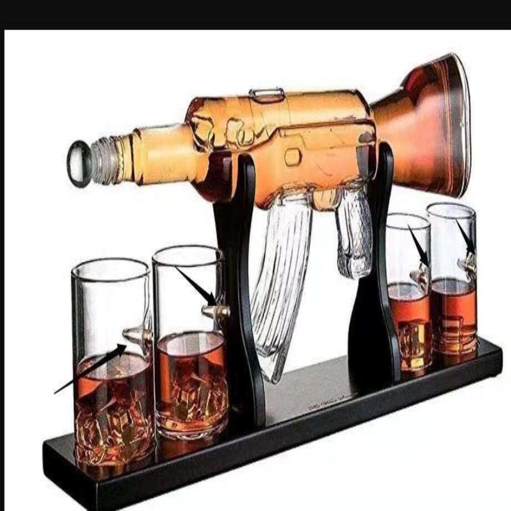 [해외] 위스키건 총모양 술병 홈파티 주기세트 러시아 피스톨 디켄더 나혼자산다