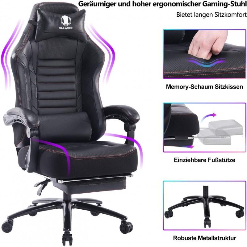 [해외] KILLABEE 대형 메모리 폼 게이밍 의자 - 금속 베이스가있는 개폐식 발 인체공학적 컴퓨터 데스크 의자