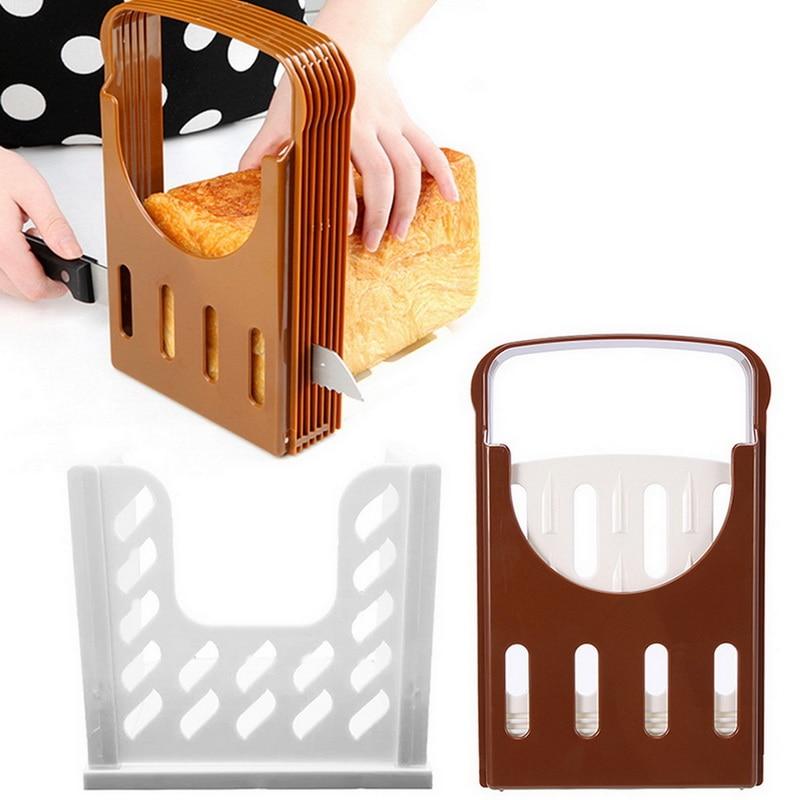 [해외] 새로운 토스트 빵 슬라이서 플라스틱 Foldable 로프 컷 랙 절단 가이드 슬라이스 도구 주방 액세서리 실용적인 케이크 분할 도구 패스트리 커터 
