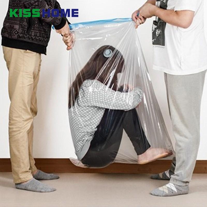 [해외] 3 크기 진공 보관 가방 투명 테두리 접이식 초대형 압축 주최자 공간 인감 가방 및 회색 펌프 절약