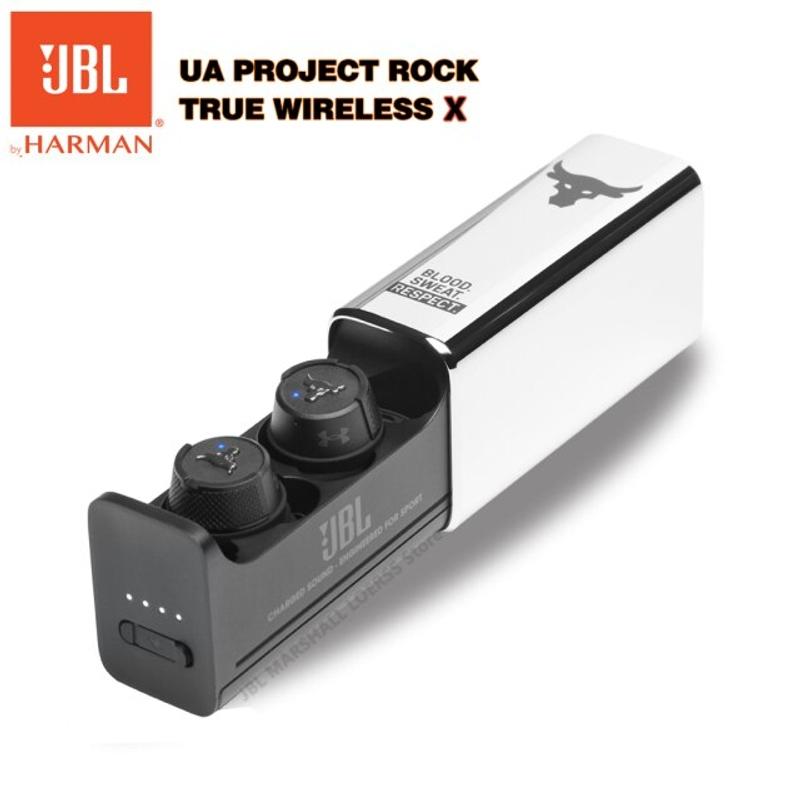 [해외] JBL Original UA Project Rock True Wireless X 블루투스 헤드셋 이어폰 형 IPX7 스테레오 헤드폰 마이크 이어 버드 스포츠 이어폰  {색깔:UA