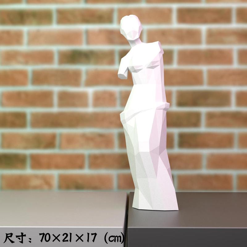 [해외] 기타장식용품 비너스 스탠드형 종이공예 모형 예술 인테리어 소품 수공 DIY입체 lowpoly스타일  T01-화이트 수공 상품 재단이 필요한