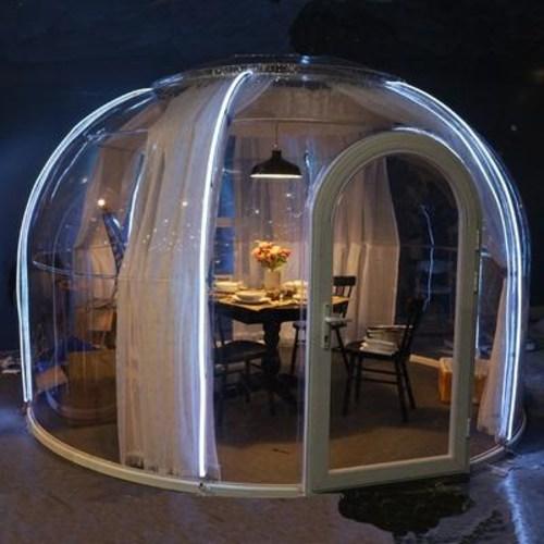 [해외] 투명 캠핑 텐트 우레탄 지퍼 바람막이 그늘막 옥상 글램핑 스모그 지퍼식 빅돔 투룸 풍선집 이동식 레스토랑 버블000143959  3.5m