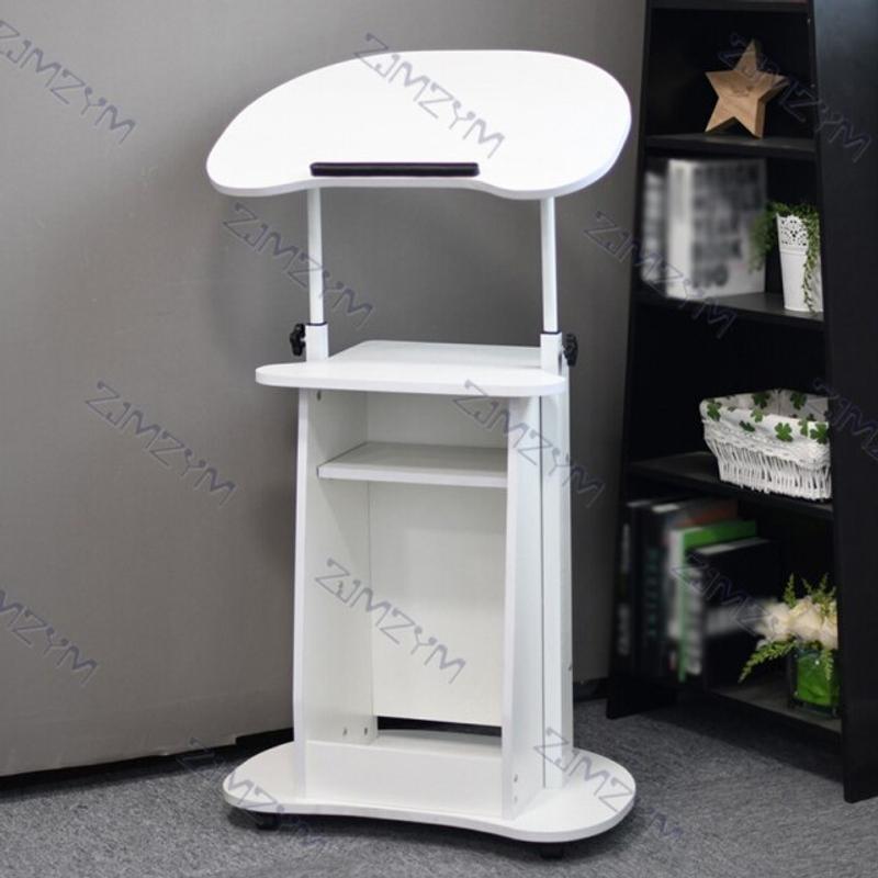 [해외] 1인용 컴퓨터 책상 고등학생 리프팅 노트북 수직 모바일 회의 교육 연단 높이 조절 강단  하얀색
