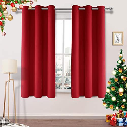 [해외] 블랙 아웃 커튼 룸 어두워진 그로멧 열 절연 태양 블록 42 x 54 인치 길이 커튼 패널 침실 거실 2 개의 빨간색 두꺼운 패널 세트 (42x54 inch Red)  42x54