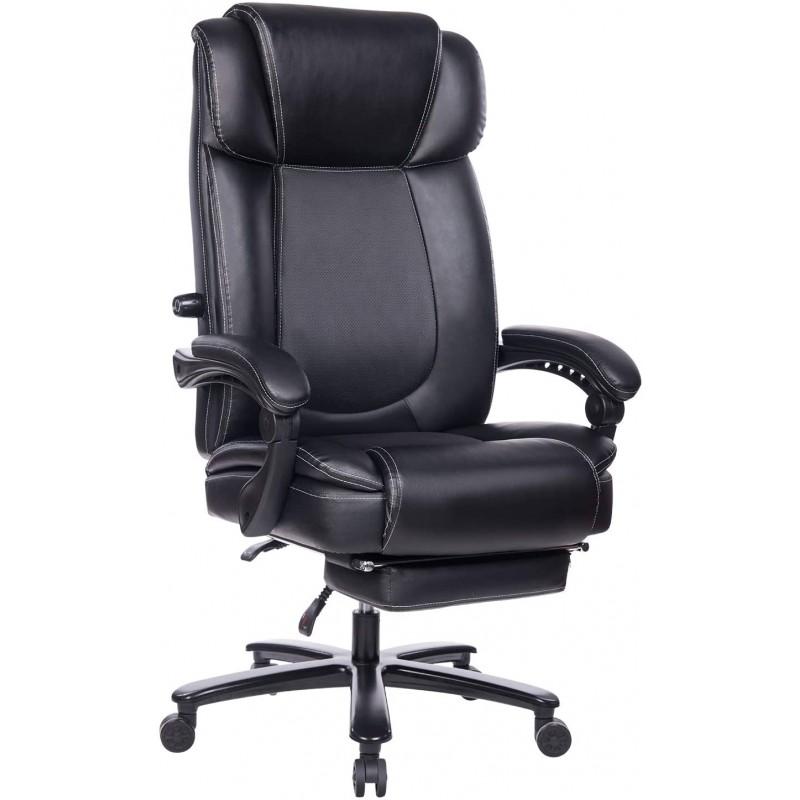[해외] REFICCER 크고 키가 큰 보세 가죽 사무용 의자-높은 등받이 금속베이스 이그제큐티브 컴퓨터 책상 의자