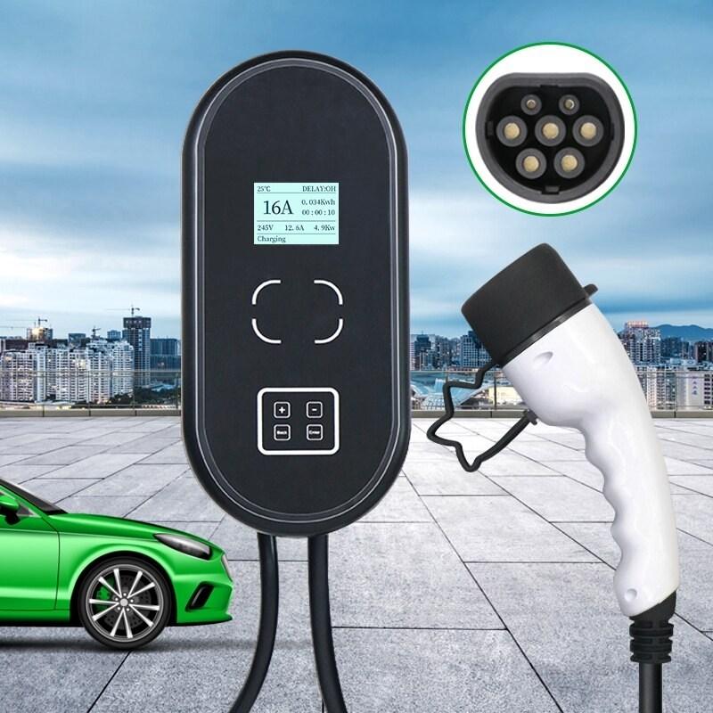 [해외] 전기차완속충전기 이동형 주행 인산철주행 휴대용 충전기 전기차충전케이블 32A 22KW