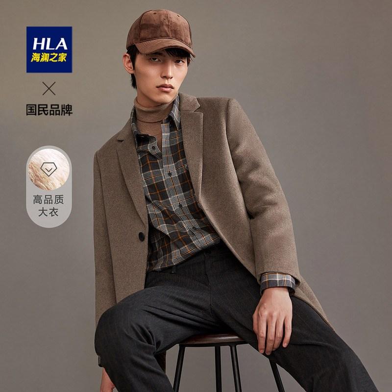 [해외] 남자니트 HLA/HLA단배열단추 모직 코트 2021가을 양면모직 주인공 섬세한 외투남성  C01-카키 D7  T01-165/84