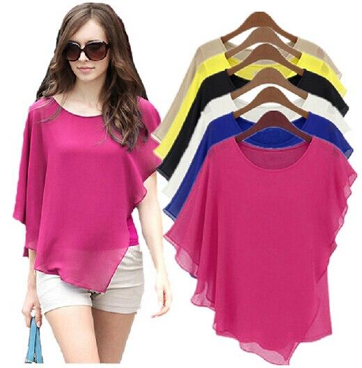 [해외] 여자 여름 블라우스 20대 30대 16 색 플러스 사이즈 s 5xl 6XL 여성용 쉬폰 블라우스 시폰 셔츠 블라우스 배트윙 슬리브 탑 셔츠 여성용 비대칭 셔츠|shirt sto