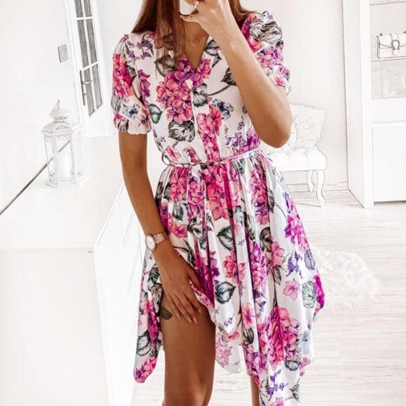 [해외] 앤스가든 프린트 보헤미안 패션 2021 뉴 오넥 여름 2021 쉬폰 여성 반팔 a 라인 드레스 블랙 미니 드레스 2XL 플로랄 G2746|Dresses|  {수량:1개}  S  W