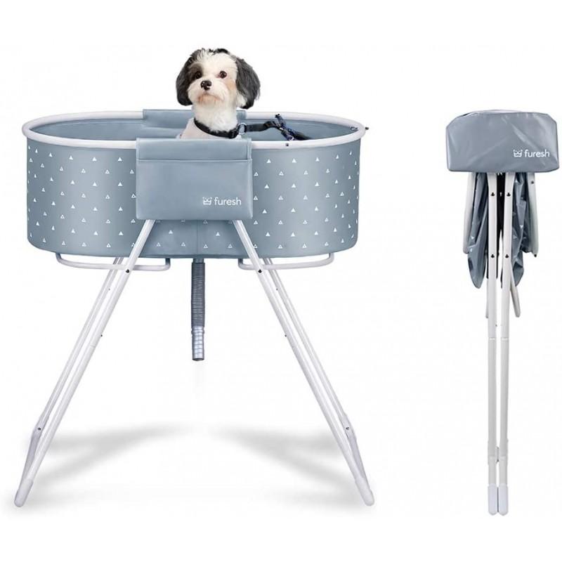 [해외] Furesh Elevated 접이식 개 욕조 및 목욕  샤워 및 미용 용 접이식 스테이션  접이식 및 휴대용  실내 및 실외  중소형 개  고