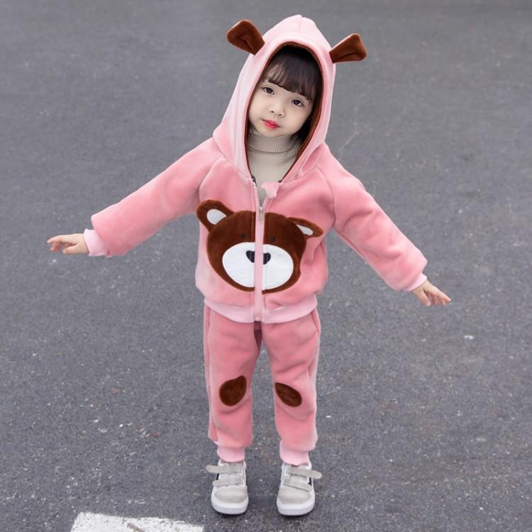 [해외] 기모트레이닝복세트 여자아기 가을겨울타입 유럽풍 골드벨벳 세트포장 0-3세 5어린이영아 두꺼운기모 운동 투피스  C01-핑크  T01-80cm