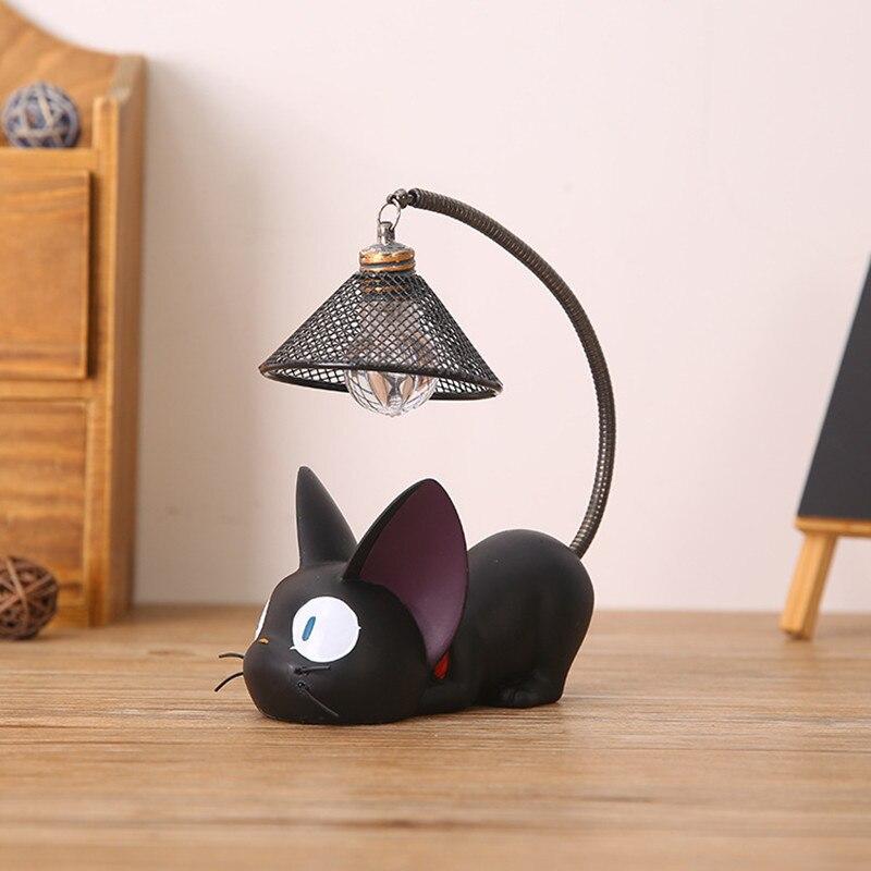 [해외] Led 나이트 라이트 크리 에이 티브 수지 고양이 동물 밤 빛 장식품 홈 인테리어 선물 작은 고양이 보육 램프 호흡