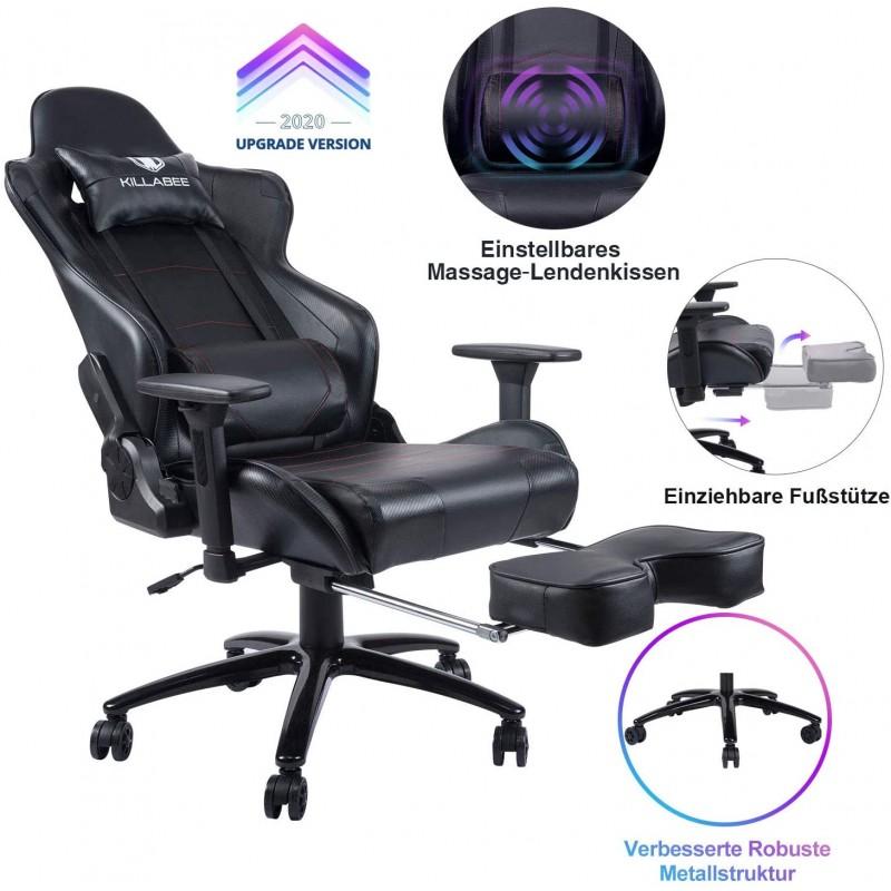 [해외] KILLABEE 게이밍 체어 조절 식 마사지 요추 쿠션 개폐식 발  컴퓨터 책상 또는 가죽 활 의자를위한 레이