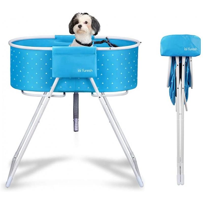 [해외] Furesh Elevated 접이식 개 욕조 및 목욕  샤워 및 손질을위한 세면대  접이식 및 휴대용  실내 및 실외  중소형 개  고양이
