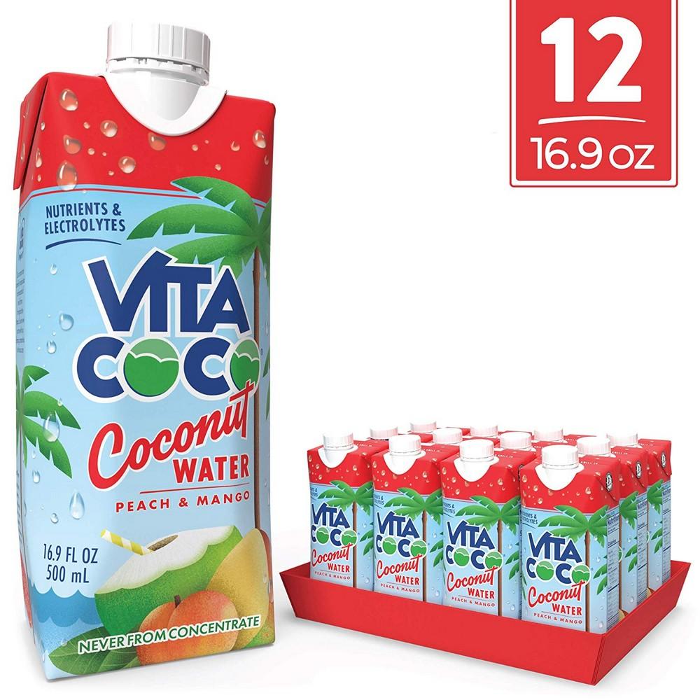 [해외] Vita Coco Coconut Water  Peach & Mango  16.9 Oz (Pack Of 12)